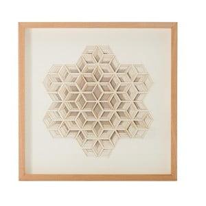 Ručně vyráběná nástěnná dekorace v rámu Vivorum 3D, 60x60cm
