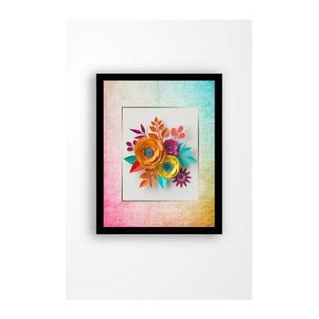 Tablou pe pânză în ramă neagră Tablo Center Rainbow Flowers, 29 x 24 cm de la Tablo Center