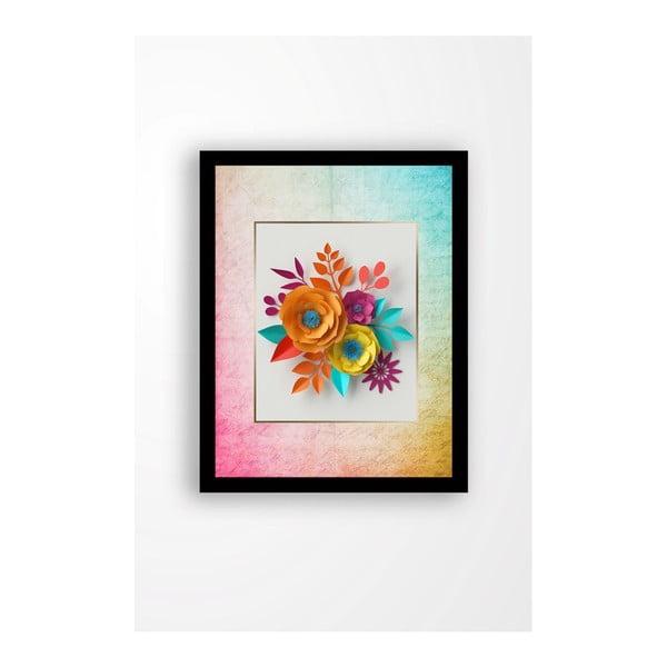 Nástěnný obraz na plátně v černém rámu Tablo Center Rainbow Flowers, 29 x 24 cm