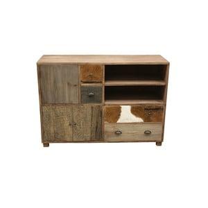Široká dřevěná komoda s detaily z kozí kůže HSM Collection Texas