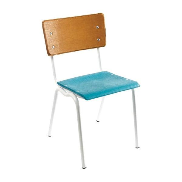 Židle Vinyl-Vinyl, modro-hnědá