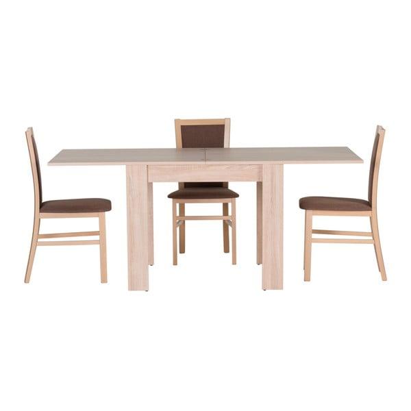 Bílý rozkládací jídelní stůl v dekoru dubového dřeva Szynaka Meble Saturn