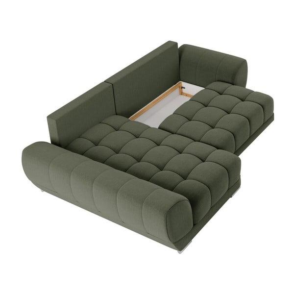Lahvově zelená rozkládací rohová pohovka Windsor & Co Sofas Cloudlet, levýroh