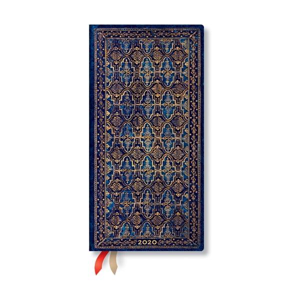 Agendă pentru anul 2020, cu copertă tare Paperblanks Blue Rhine,160 file, albastru