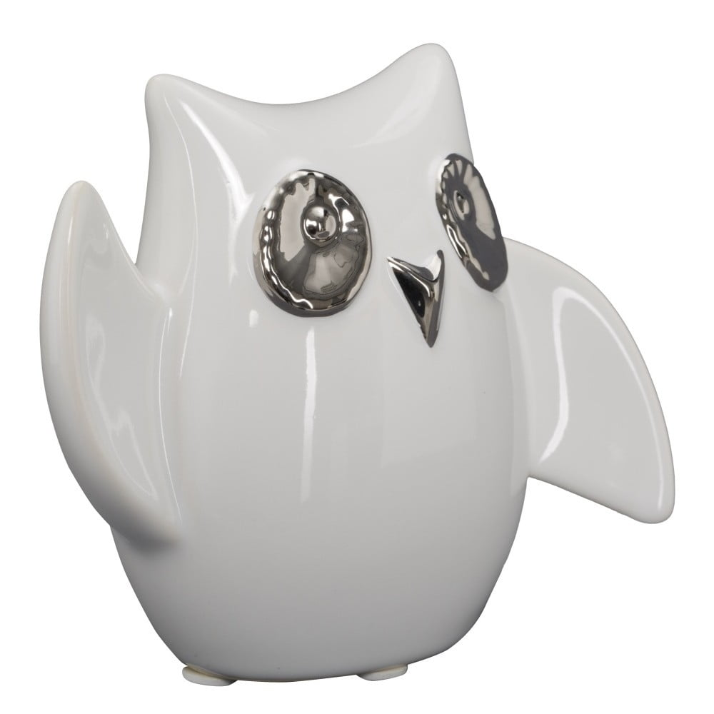 Bílá keramická dekorativní soška Mauro Ferretti Gufo Funny Owl, výška 10,5 cm Mauro Ferretti