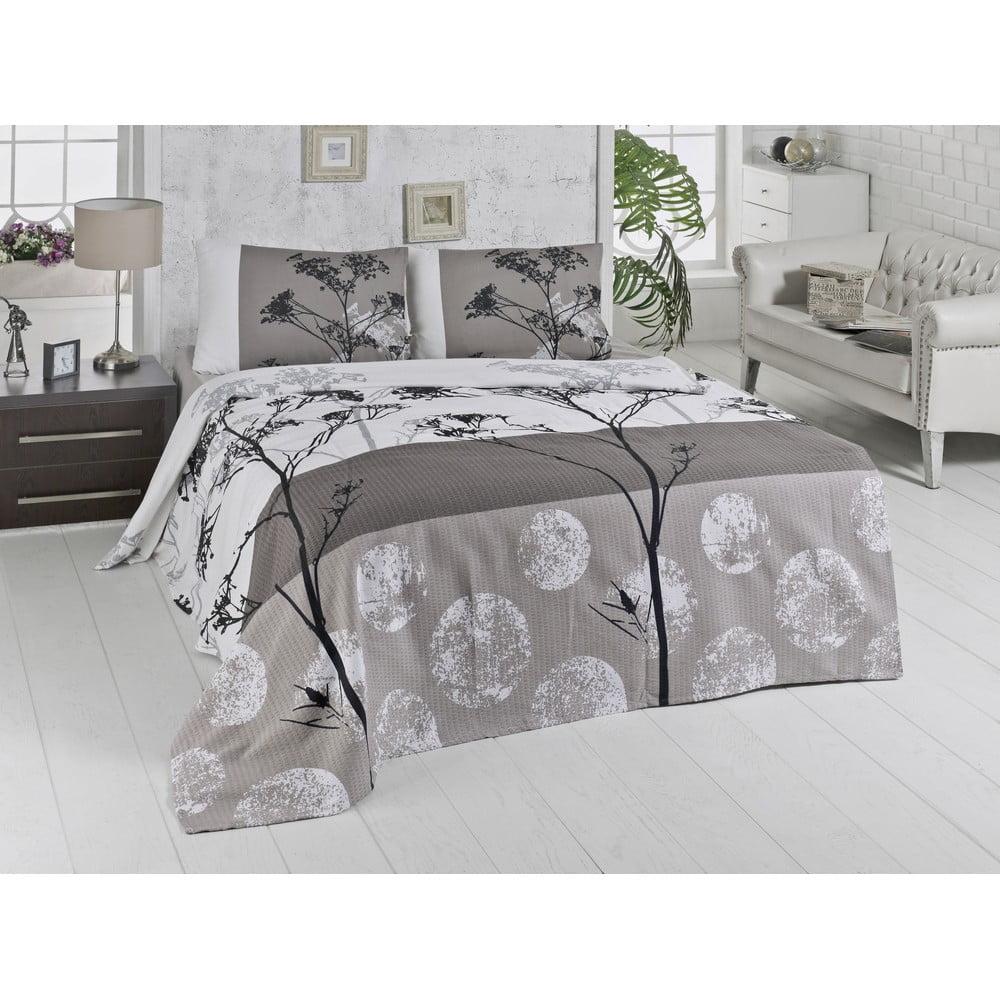 Lehký bavlněný přehoz přes postel na dvoulůžko Belezza Grey, 200 x 230 cm