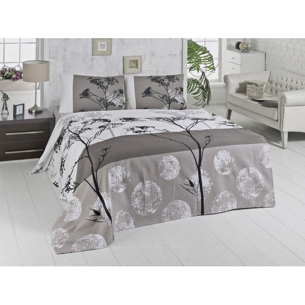 Lehký bavlněný přehoz přes postel na dvoulůžko Belezza Grey,200x230cm
