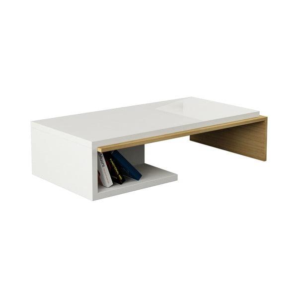 Kávový stolek Bend, bílo-dub