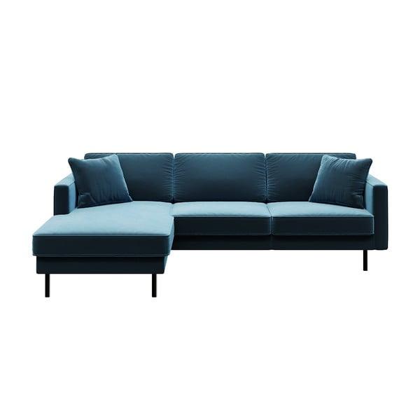 Modrá rohová pohovka MESONICA Kobo, levý roh