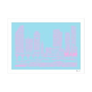 Plakát Miami Blue&Pink, 50x70 cm