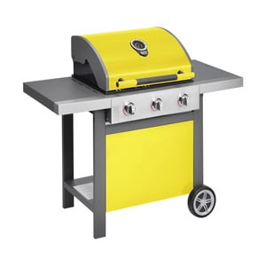 Žlutý plynový gril se 3 samostatně ovladatelnými hořáky a teploměrem Jamie Oliver BBQ