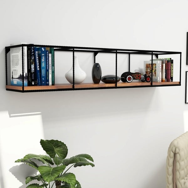 Półka z deską z ciemnego drewna z orzecha włoskiego Miray, dł. 160 cm