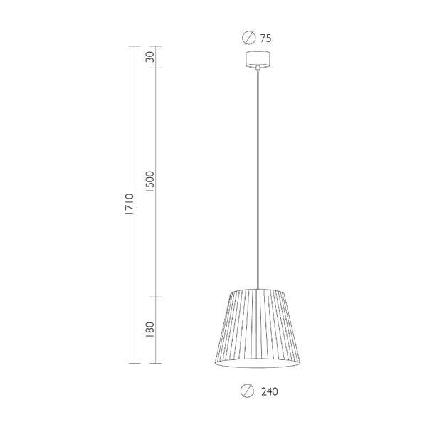 Krémové závěsné svítidlo s černým kabelem Sotto Luce Kami, ⌀24cm
