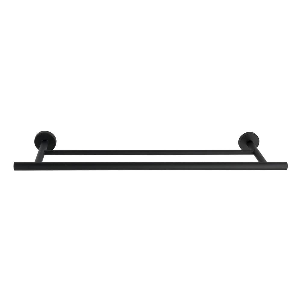 Černý dvojitý nástěnný držák na ručníky z nerezové oceli Wenko Bosio Rail Duo