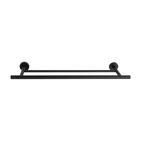 Suport dublu de perete pentru prosoape din metal inoxidabil Wenko Bosio Rail Duo, negru