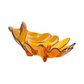 Bol din sticlă reciclată Mauro Ferretti Leaf, 33x20cm, portocaliu imagine
