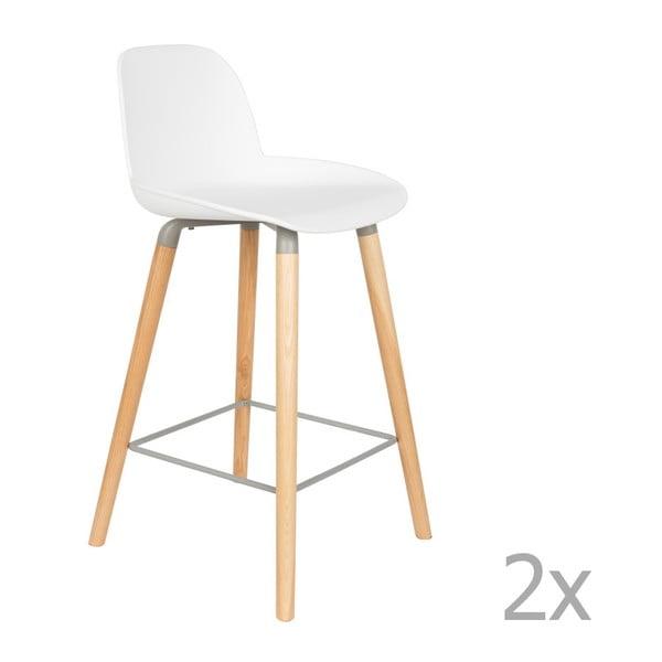 Sada 2 bílých barových židlí Zuiver Albert Kuip, výška sedu 65cm