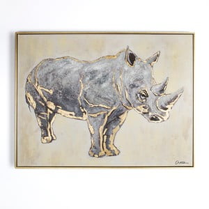 Tablou pictat manual Graham & Brown Rhino, 80 x 60 cm