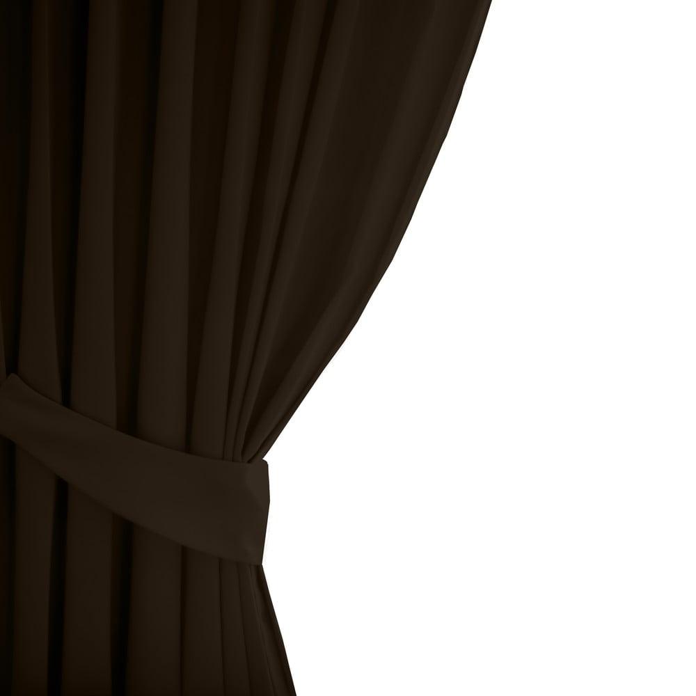 Tmavě hnědý závěs AmeliaHome Eyelets Dark Brown, 140 x 245 cm
