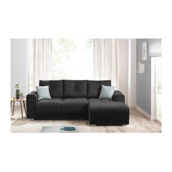Canapea cu șezlong pe partea dreaptă Bobochic Lisboa negru