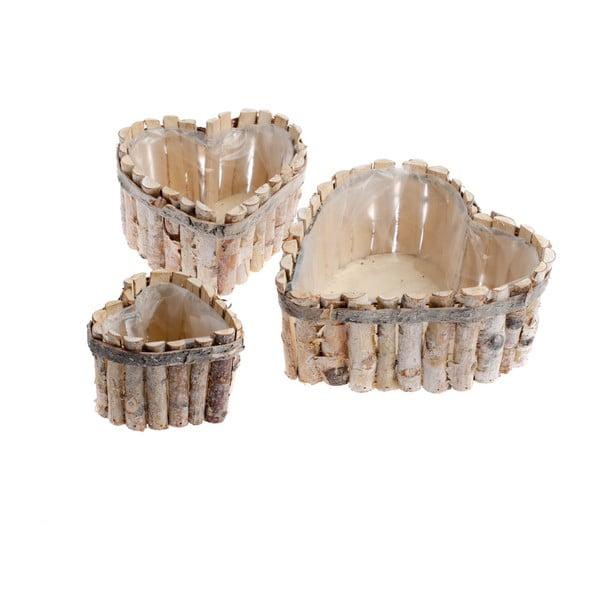 Sada 3 dřevěných košů ve tvaru srdce Dakls Valley