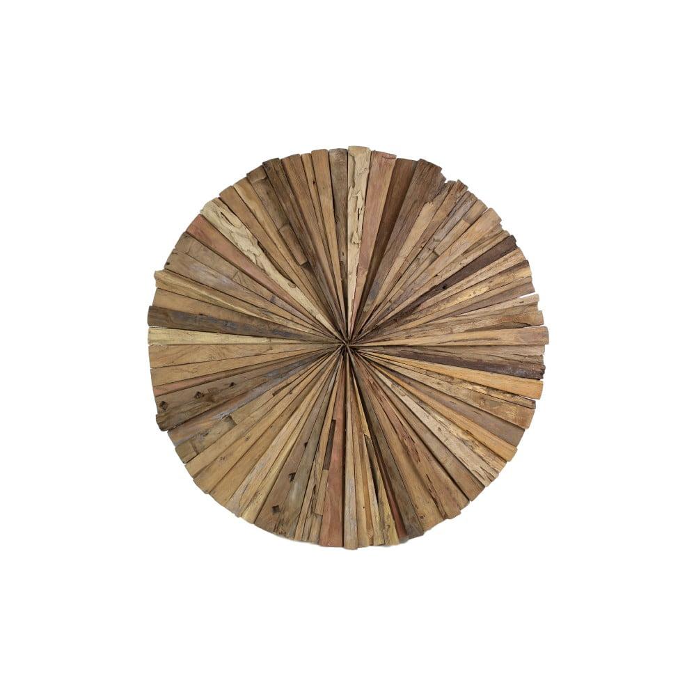 Nástěnná dekorace z teakového dřeva HSM Collection Roude, 60 cm