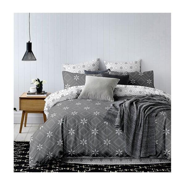 Szaro-biała dwustronna pościel dwuosobowa z mikrowłókna DecoKing Hypnosis Snowy Night, 230x220 cm