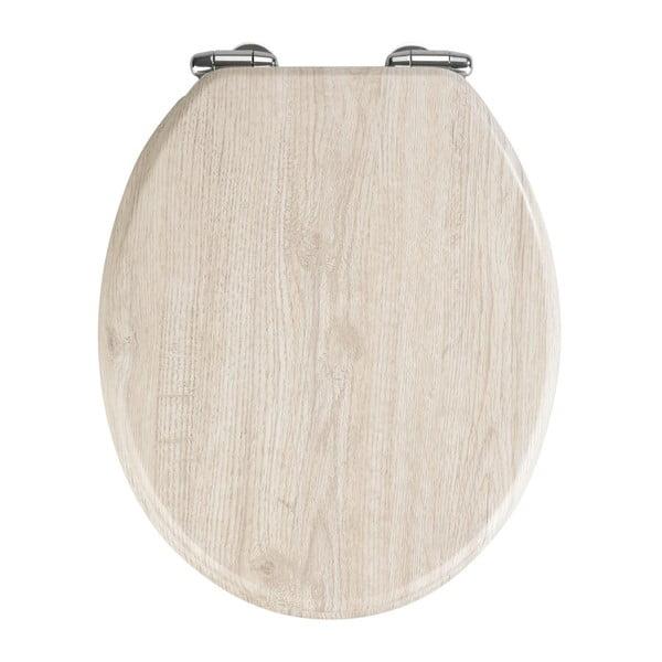 Světlé WC sedátko a snadným zavíráním Wenko Oak, 42,5 x 35,5 cm