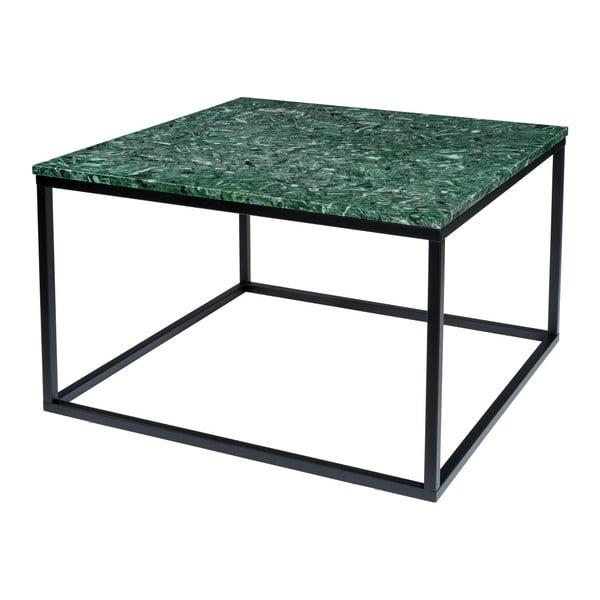 Ciemnozielony stolik marmurowy z czarną konstrukcją RGE Accent, szer.75cm