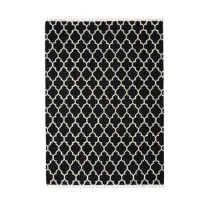 Černý ručně tkaný vlněný koberec Linie Design Arifa, 140x200cm