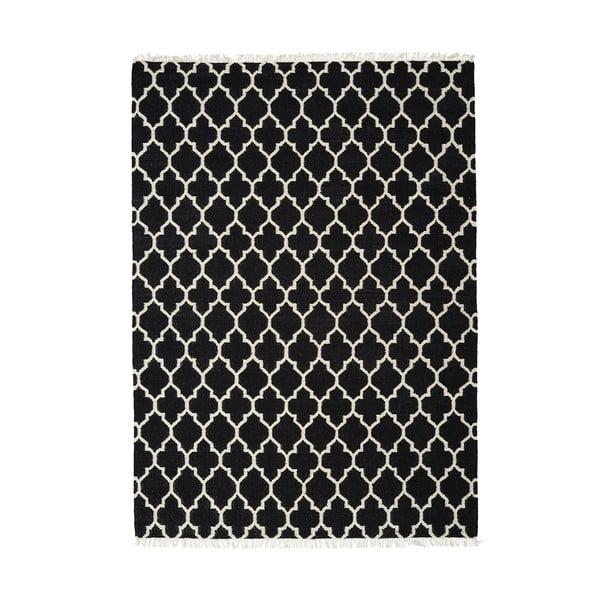Černý ručně tkaný vlněný koberec Linie Design Arifa, 200x300cm