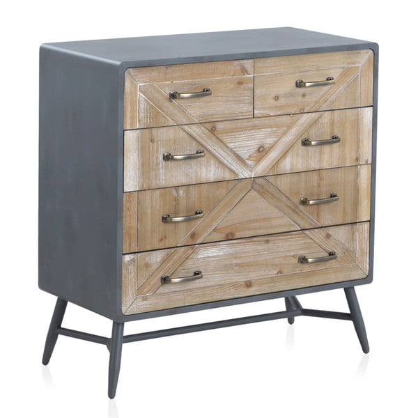 Comodă cu detalii gri și 5 sertare Geese Rustico Duro, 78 x 82 cm