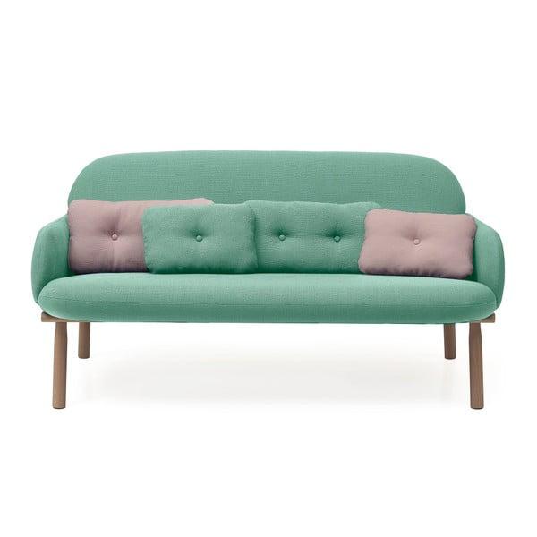 Zelená pohovka s 2 zelenými a 2 růžovými dekorativními polštářky HARTÔ Georges