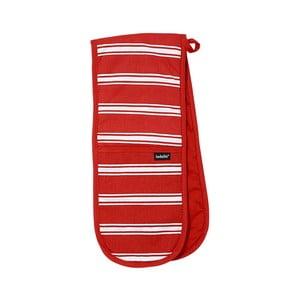 Červená dvojitá kuchyňská chňapka Ladelle Butcher Stripe