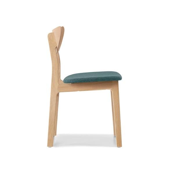 Sada 2 jídelních židlí z masivního dubového dřeva s tyrkysovým sedákem WOOD AND VISION Chief