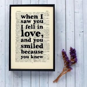 Plakát v dřevěném rámu Romantic 'when I saw you'