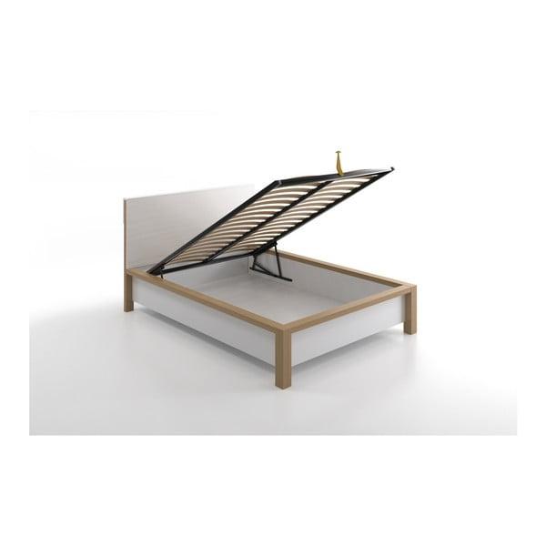 Pat dublu din lemn de pin, cu spațiu de depozitare, SKANDICA InBig, 160 x 200 cm