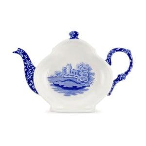 Sada 4 bílomodrých porcelánových tácků na čajový sáček Spode Blue Italian