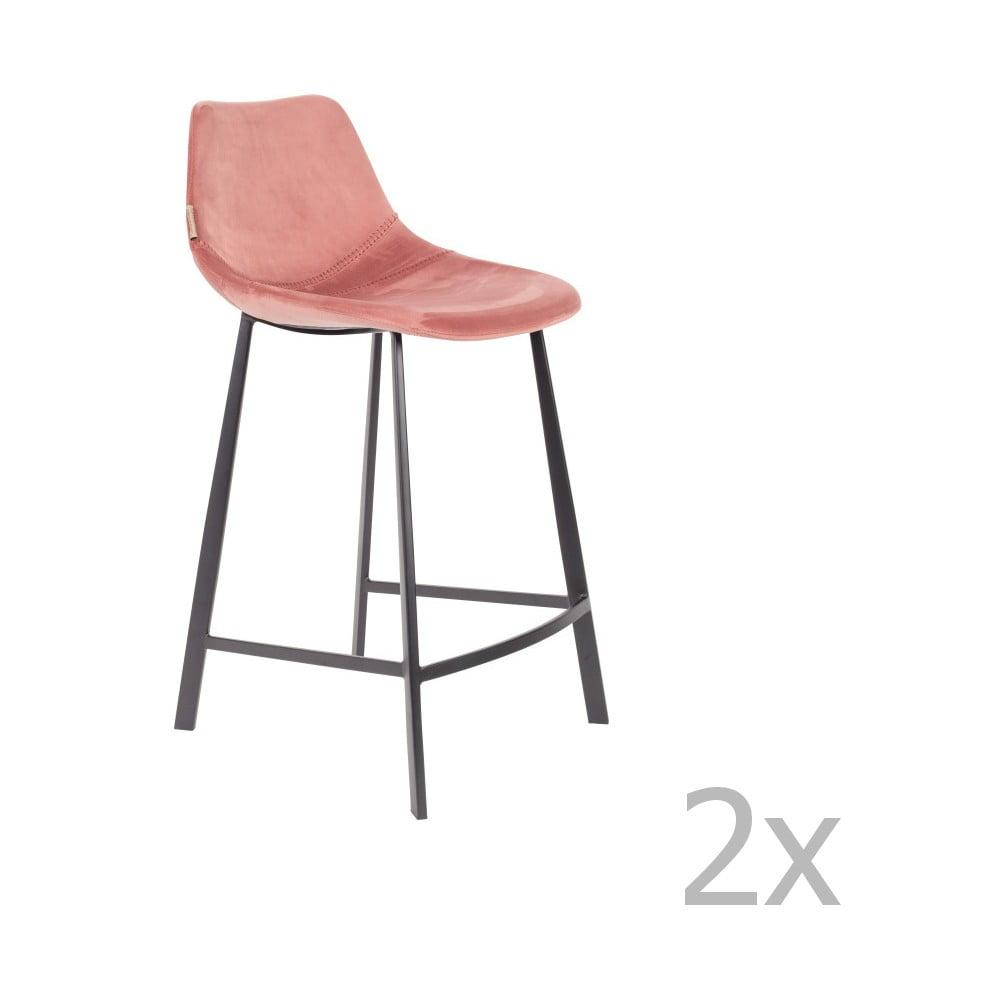 Sada 2 růžových barových židlí se sametovým potahem Dutchbone, výška 91 cm