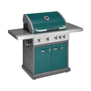 Zelený plynový gril se 4 samostatně ovladatelnými hořáky, teploměrem a bočním ohřívačem Jamie Oliver Pro