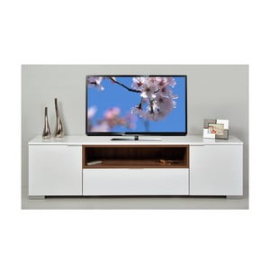 Televizní stolek Grand, bílý/ořech