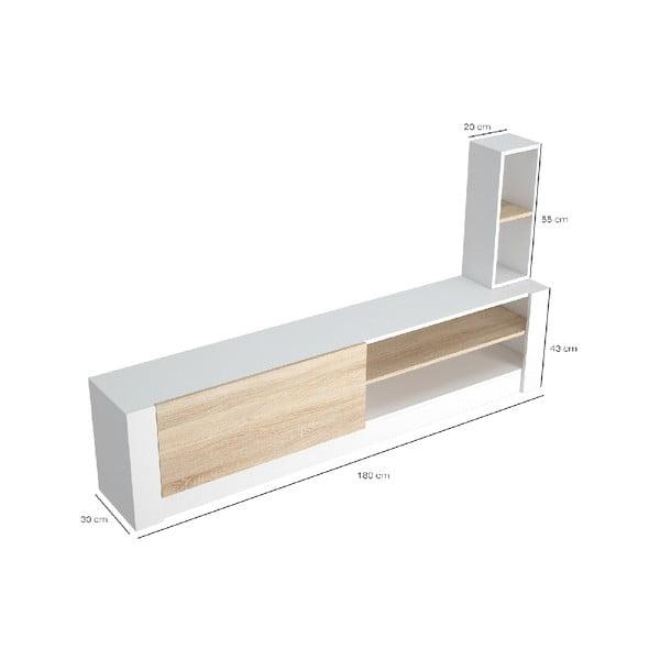 Bílý TV stolek se světle hnědými detaily Gomez