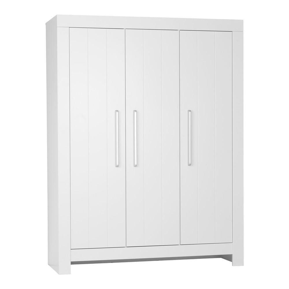 Bílá třídveřová šatní skříň Pinio Calmo