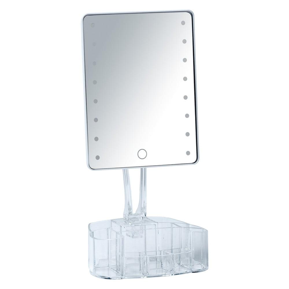 Bílé kosmetické zrcadlo s LED podsvícením a organizérem na make-up Wenko Trenno