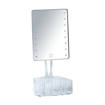 Oglindă cosmetică cu ancadrament LED și organizator pentru machiaje Wenko Trenno, alb