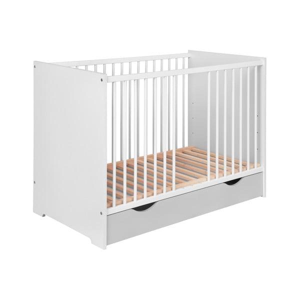 Szaro-białe łóźeczko dziecięce z szufladą KICOTI Circle, 60x120 cm