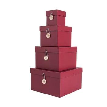 Set 4 cutii de depozitare PT LIVING Uniform, roșu imagine
