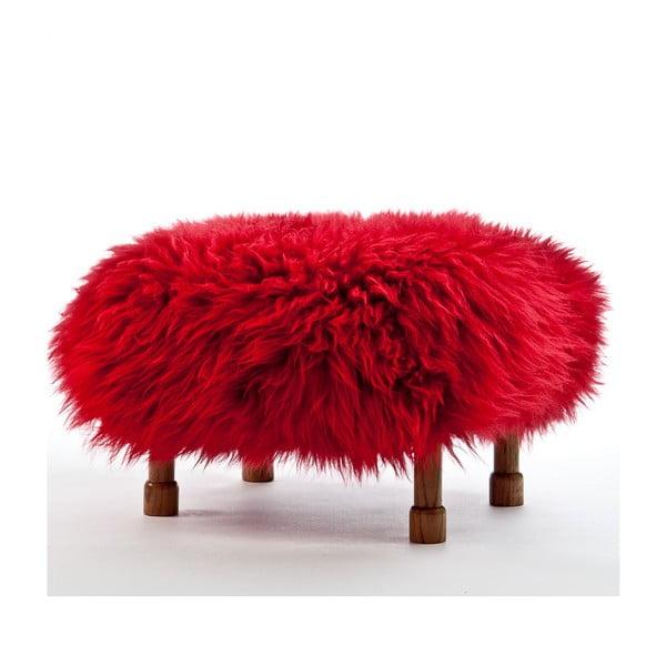 Stolička z ovčí kůže Delyth Dragon Red