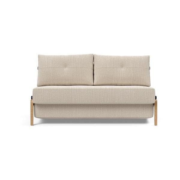 Šedobéžová rozkládací pohovka Innovation Cubed Wood Linen Sand Grey, 96x147cm