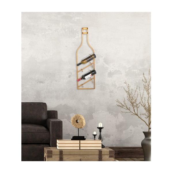 Nástěnný držák na lahve ve zlaté barvě Mauro Ferretti Marcello, 25x87cm